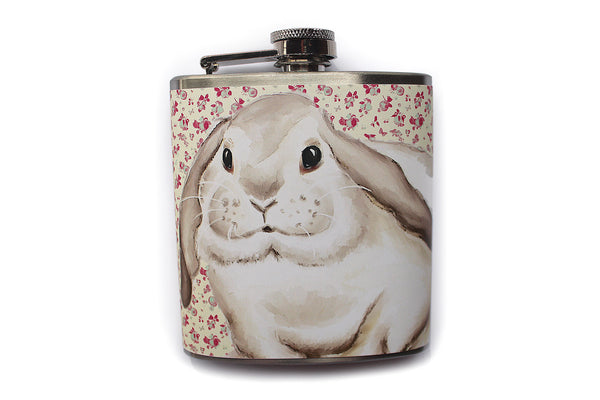 Cottage Chic Bunny Rabbit Floral Flask - Harmless Habit - 1