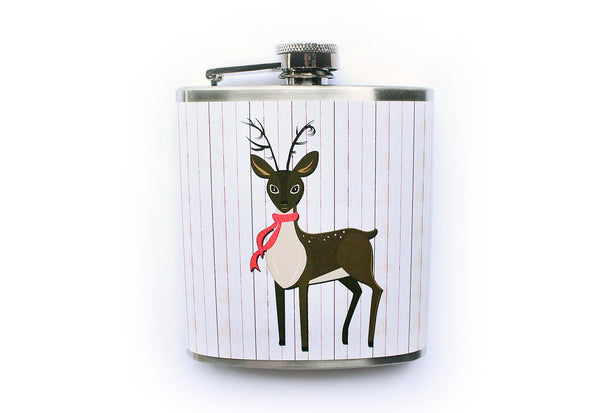 Reindeer in a Scarf Winter Holidays Flask - Harmless Habit - 1