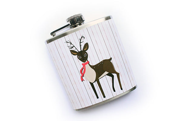 Reindeer in a Scarf Winter Holidays Flask - Harmless Habit - 2