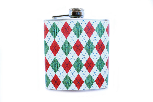 Customizable Red, White, and Green Argyle Christmas Sweater Flask - Harmless Habit - 1