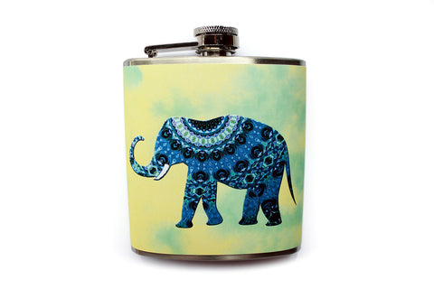Tie Dye Yellow and Mint Artistic Elephant Flask - Harmless Habit - 1