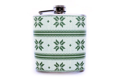 Snowflake Flask, Ugly Christmas Sweater Pattern in Green - Harmless Habit - 1