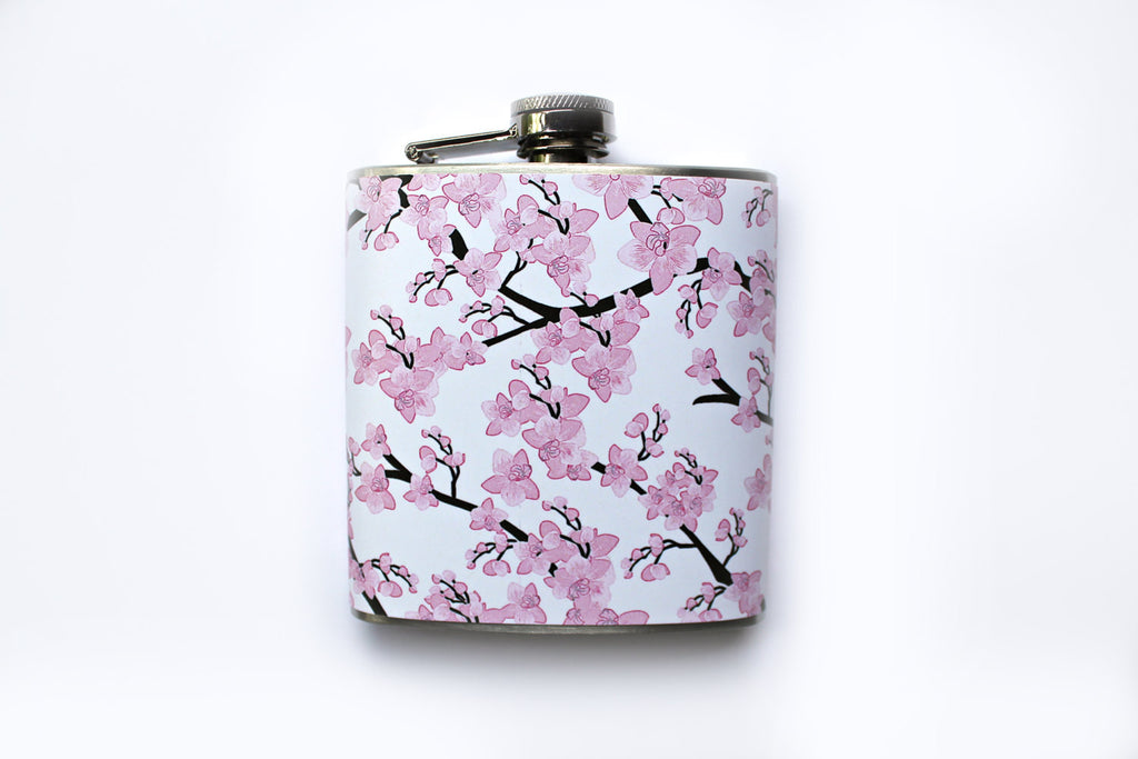 Pink and White Japanese Cherry Blossoms Flask - Harmless Habit - 1