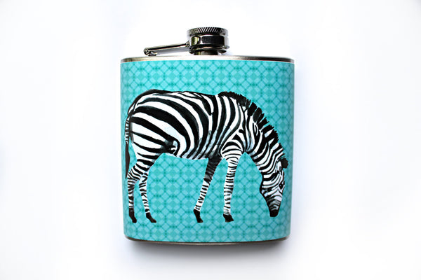 Watercolor Zebra Flask - Harmless Habit - 1