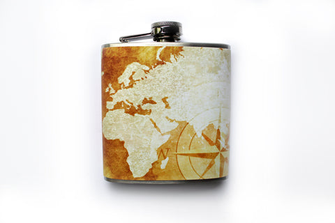 Weathered Map Travel Flask - Harmless Habit - 1
