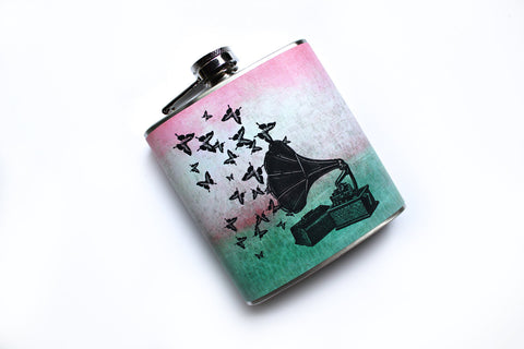 Gramophone and Butterflies Music to My Ears Flask - Harmless Habit - 1