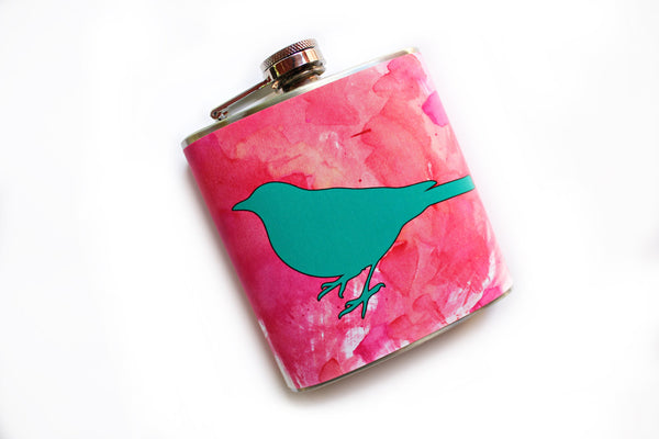 Teal Bird on Pink Watercolor Flask - Harmless Habit - 2