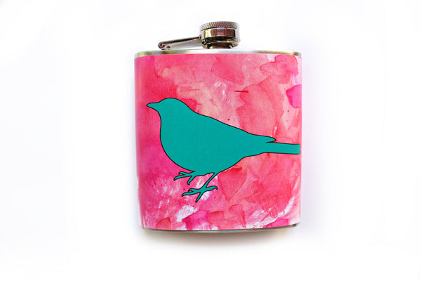 Teal Bird on Pink Watercolor Flask - Harmless Habit - 1