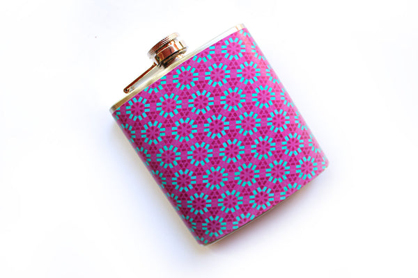 Customizable Pink and Blue Geometric Floral Flask - Harmless Habit - 2