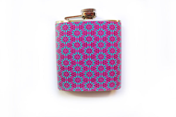 Customizable Pink and Blue Geometric Floral Flask - Harmless Habit - 1
