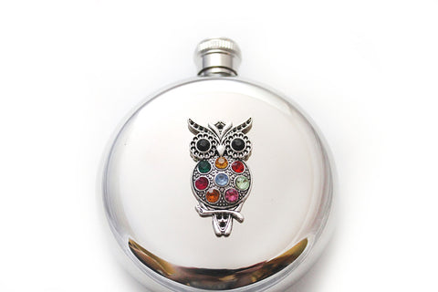 Rhinestone Owl Round Flask - Harmless Habit - 1