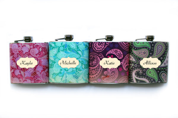 Purple, Pink, and Green Paisley Flask - Harmless Habit - 5