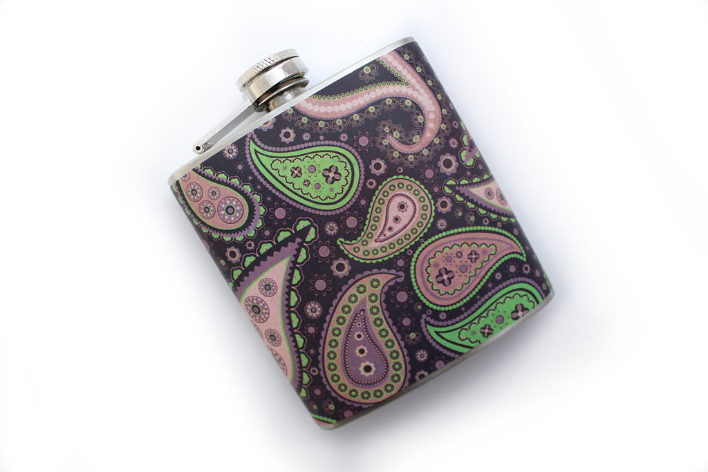 Purple, Pink, and Green Paisley Flask - Harmless Habit - 1