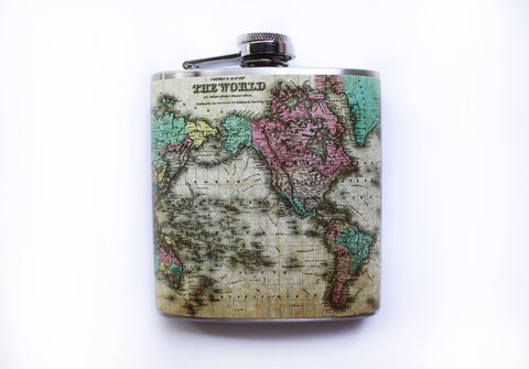 Antique Map Flask - Harmless Habit - 1