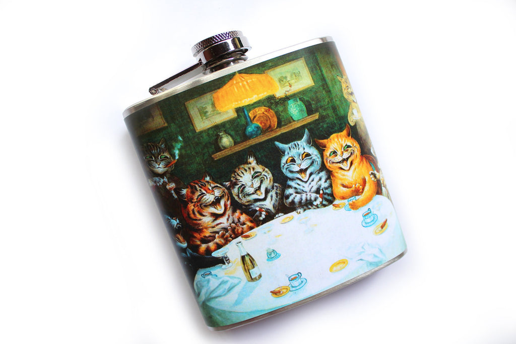 Cats Drinking and Smoking Flask - Harmless Habit - 1