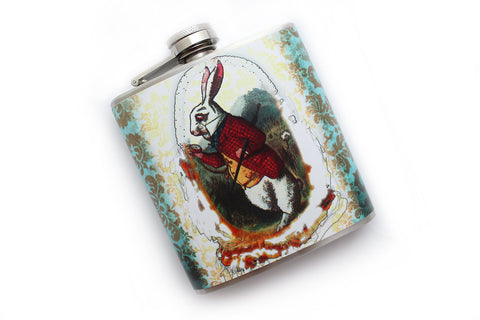 """I'm Late!"" White Rabbit Alice in Wonderland Flask - Harmless Habit - 1"