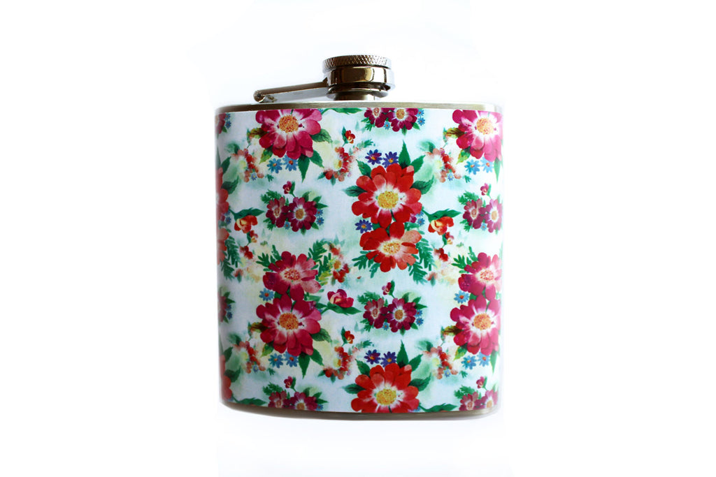 White and Red Vintage Print Floral Flask - Harmless Habit - 1