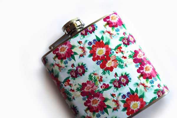 White and Red Vintage Print Floral Flask - Harmless Habit - 2
