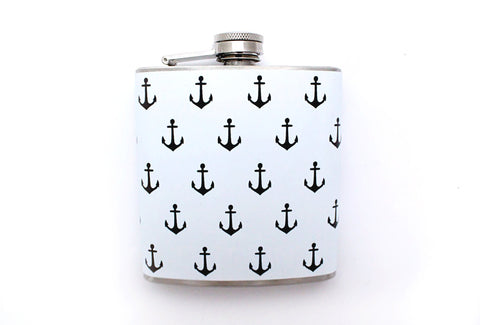 Black and White Anchor Print Flask - Harmless Habit - 1