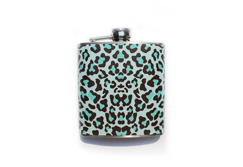 Brown and Blue Leopard Print Flask - Harmless Habit - 1
