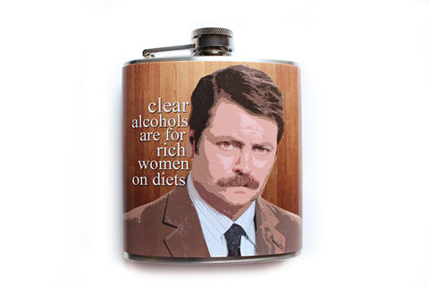 Ron Swanson Quote Funny Flask - Harmless Habit - 1