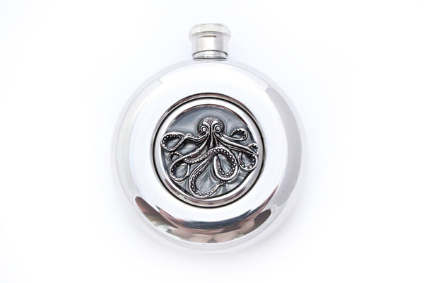 Round Bronze Octopus Flask - Harmless Habit - 2