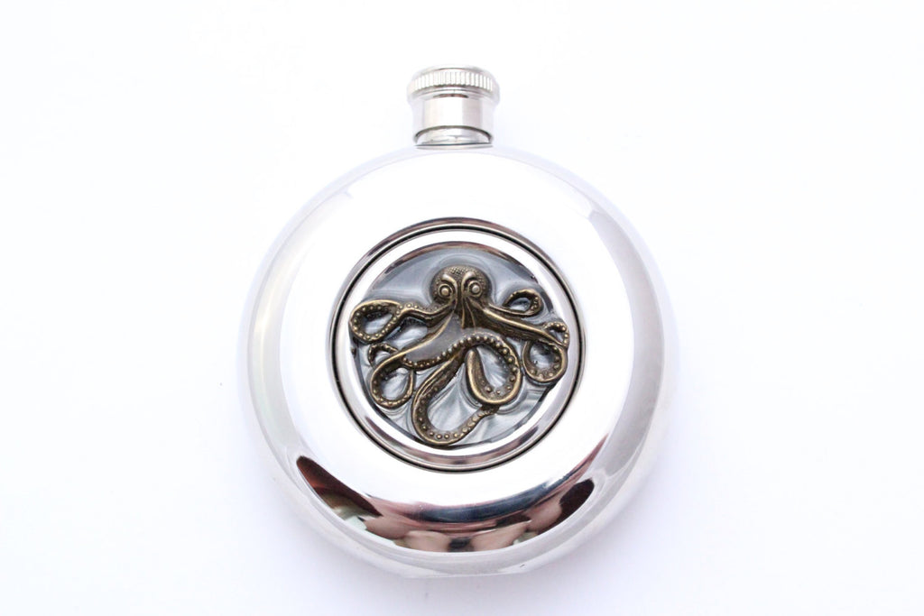 Round Bronze Octopus Flask - Harmless Habit - 1