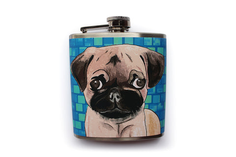Customizable Pug Dog Flask in Blue - Harmless Habit - 1