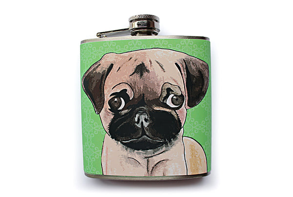 Customizable Pug Dog Flask in Blue - Harmless Habit - 2