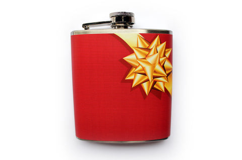 Red Christmas Present Gift Wrapped Bow Flask - Harmless Habit - 1