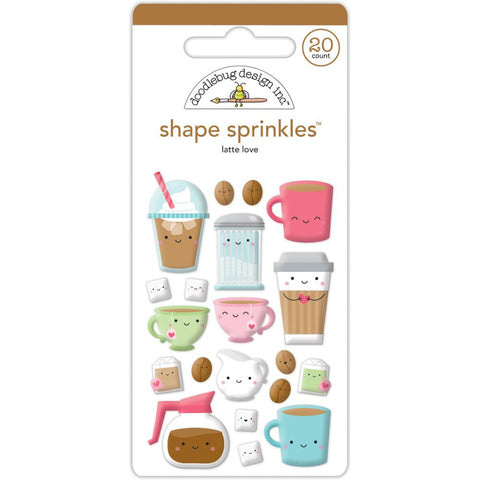Doodlebug Sprinkles Adhesive Glossy Enamel Shapes - Cream & Sugar Latte Love