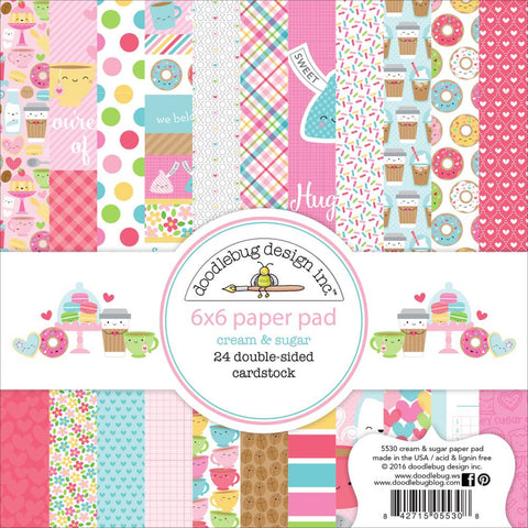 "Doodlebug Double-Sided Paper Pad 6""X6"" 24/Pkg - Cream & Sugar"