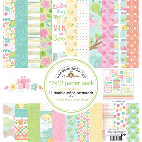 "Doodlebug Double-Sided Paper Pack 12""X12"" - Spring Things"