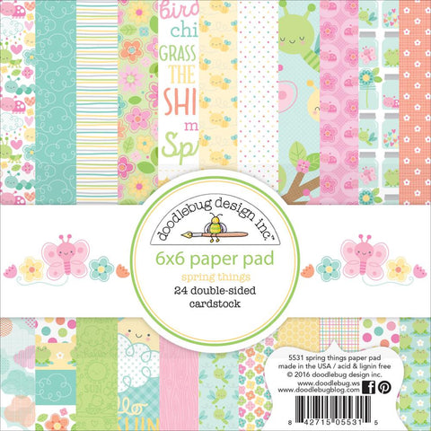 "Doodlebug Double-Sided Paper Pad 6""X6"" 24/Pkg - Spring Things"