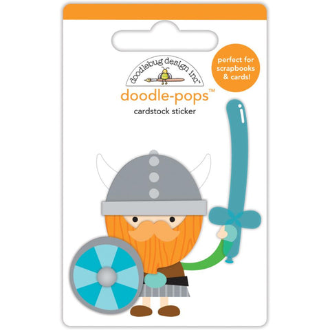 Doodlebug Doodle-Pops 3D Stickers - Dragon Tails Wee Warrior