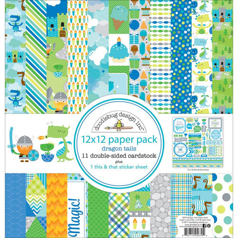 "Doodlebug Double-Sided Paper Pack 12""X12"" - Dragon Tails"