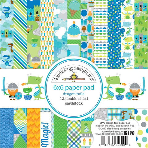 "Doodlebug Double-Sided Paper Pad 6""X6"" 24/Pkg - Dragon Tails"