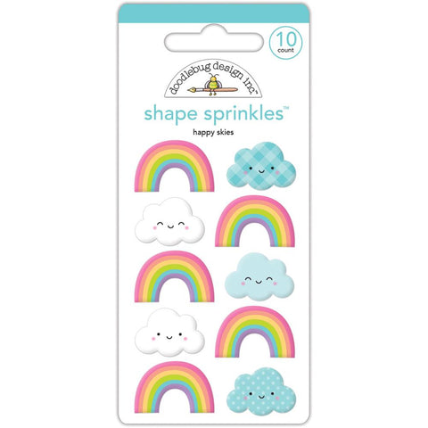 Doodlebug Sprinkles Adhesive Glossy Enamel Shapes - Fairy Tales Happy Skies