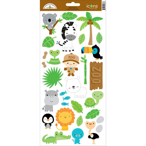 "At The Zoo Cardstock Stickers 6""X13"" - Icons#2"