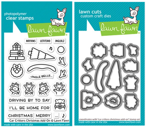 car critters christmas add-on stamp and die
