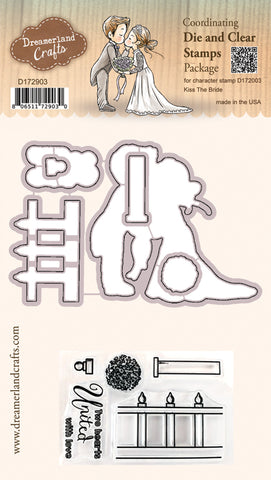 Coordinating Die & Clear Stamp Package for Character Stamp D172003 Kiss The Bride