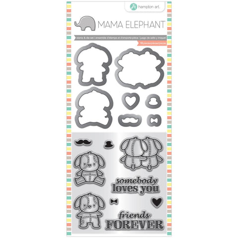 "Lovey Puppy - Mama Elephant Stamp & Die Set 4""X8"""
