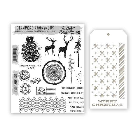 Tim Holtz STAMPTEMBER Cling Rubber Stamps and Stencil