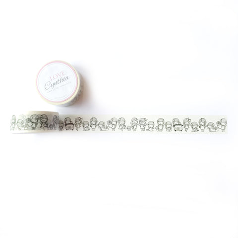 HAPPY GIRL GANG WASHI TAPE (VERSION 1 - BLACK & WHITE)