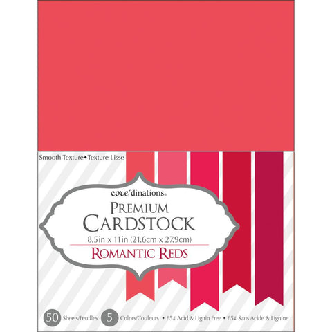 "Core'dinations Value Pack Smooth Cardstock 8.5""X11"" 50/Pkg - Romantic Reds"