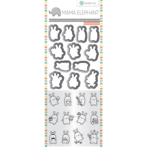 "Mama Elephant Clear Stamp & Die Set 4.125""X10.5"" - Mini Bunny Agenda"