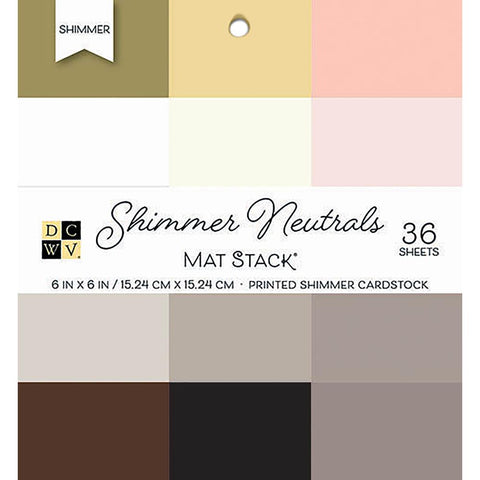 "Single-Sided Cardstock Stack 6""X6"" 36/Pkg - Shimmer Neutrals Solid, 12 Colors/3 Each"