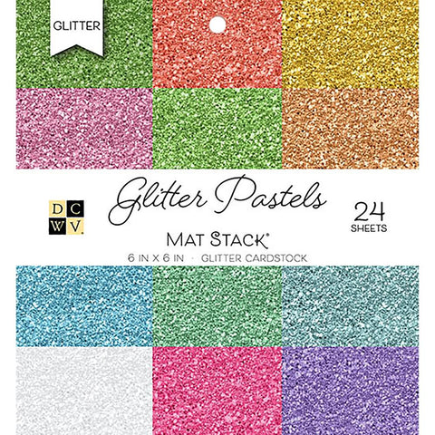 "Single-Sided Cardstock Stack 6""X6"" 24/Pkg - Glitter Pastels Solid, 12 Colors/2 Each"