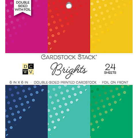 "Double-Sided Cardstock Stack 6""X6"" 24/Pkg - Brights W/Foil, 6 Colors/4 Each"