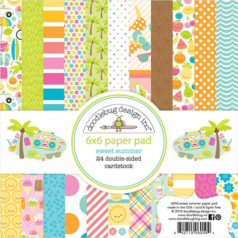 "Doodlebug Double-Sided Paper Pad 6""X6"" 24/Pkg - Sweet Summer"